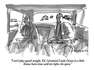 """I can't play squash tonight, Ed.  I promised Linda I'd put in a little Ka?"" - New Yorker Cartoon-Michael Crawford-Premium Giclee Print"