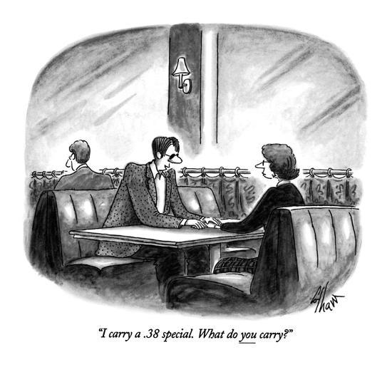 """I carry a .38 special.  What do you carry?"" - New Yorker Cartoon-Frank Cotham-Premium Giclee Print"