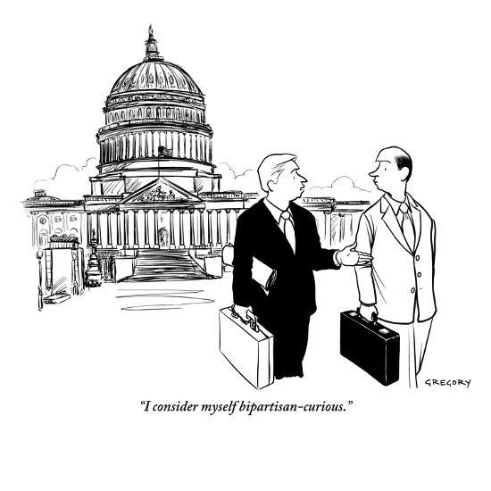 """I consider myself bipartisan-curious."" - New Yorker Cartoon-Alex Gregory-Premium Giclee Print"