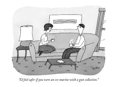 """I'd feel safer if you were an ex-marine with a gun collection."" - New Yorker Cartoon-Peter C. Vey-Premium Giclee Print"