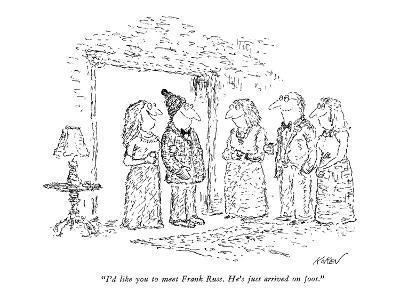 """I'd like you to meet Frank Russ. He's just arrived on foot."" - New Yorker Cartoon-Edward Koren-Premium Giclee Print"