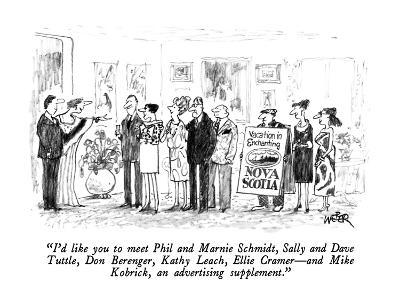 """I'd like you to meet Phil and Marnie Schmidt, Sally and Dave Tuttle, Don ?"" - New Yorker Cartoon-Robert Weber-Premium Giclee Print"
