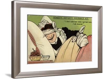 """""""I Don't Care How Often I Get Hurt Now, I Am Insured""""--Framed Giclee Print"""