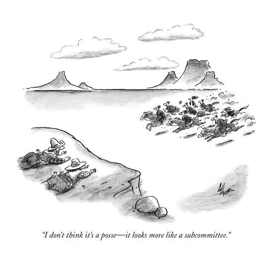"""""""I don't think it's a posse?it looks more like a subcommittee."""" - New Yorker Cartoon-Frank Cotham-Premium Giclee Print"""