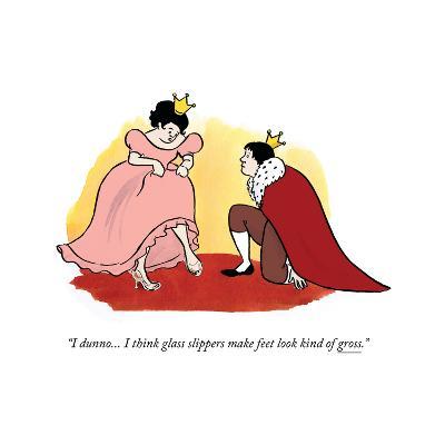 """I dunno... I think glass slippers make feet look kind of gross."" - Cartoon-Emily Flake-Premium Giclee Print"