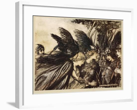 I flee for the first time and am pursued...Save this woman!', from 'The Rhinegold and the Valkyrie'-Arthur Rackham-Framed Giclee Print