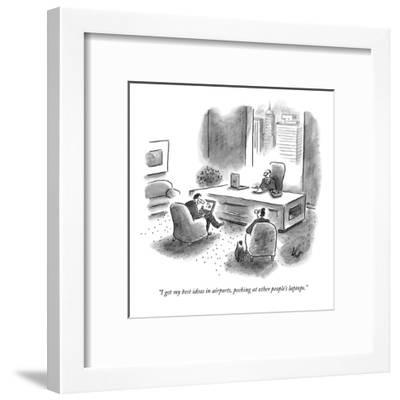 """""""I get my best ideas in airports, peeking at other people's laptops."""" - New Yorker Cartoon-Frank Cotham-Framed Premium Giclee Print"""