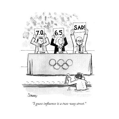 """I guess influence is a two-way street."" - Cartoon-Benjamin Schwartz-Premium Giclee Print"