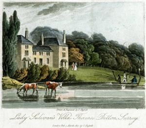 Lady Sulivan's Villa, Thames Ditton, Surrey, England, 1817 by I Hassell