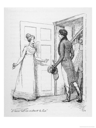 """I Have Not an Instant to Lose"" Says Elizabeth Bennet to Mr. Darcy-Hugh Thomson-Giclee Print"