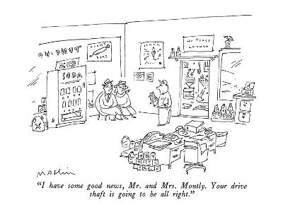 """""""I have some good news, Mr. and Mrs. Montly.  Your drive shaft is going to?"""" - New Yorker Cartoon-Michael Maslin-Premium Giclee Print"""