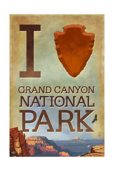 I Heart Grand Canyon National Park, Arizona-Lantern Press-Art Print