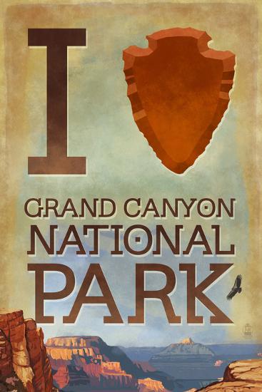 I Heart Grand Canyon National Park, Arizona-Lantern Press-Wall Mural