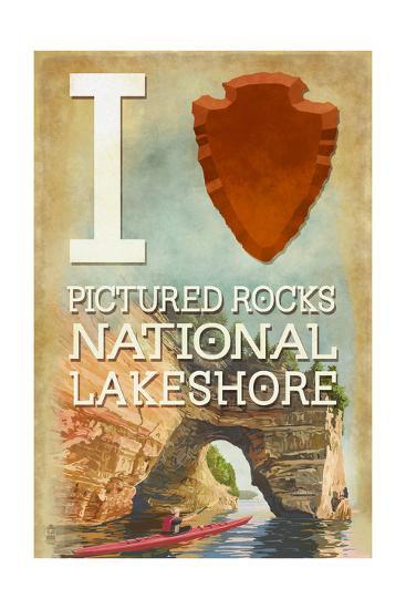 I Heart Pictured Rocks National Lakeshore, Michigan-Lantern Press-Art Print
