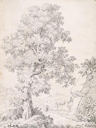 Landscape, a Shepherd and His Goats Walking by a Tree by I. Inghivami