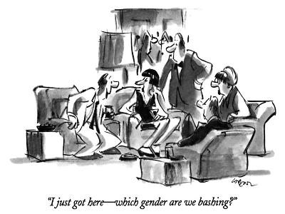 """I just got here?which gender are we bashing?"" - New Yorker Cartoon-Lee Lorenz-Premium Giclee Print"