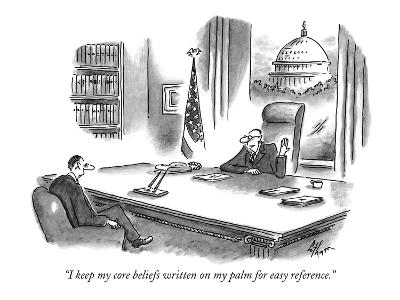 """""""I keep my core beliefs written on my palm for easy reference."""" - New Yorker Cartoon-Frank Cotham-Premium Giclee Print"""