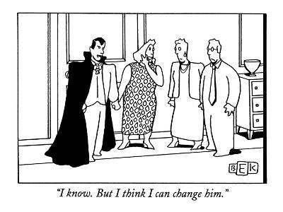 """""""I know. But I think I can change him."""" - New Yorker Cartoon-Bruce Eric Kaplan-Premium Giclee Print"""