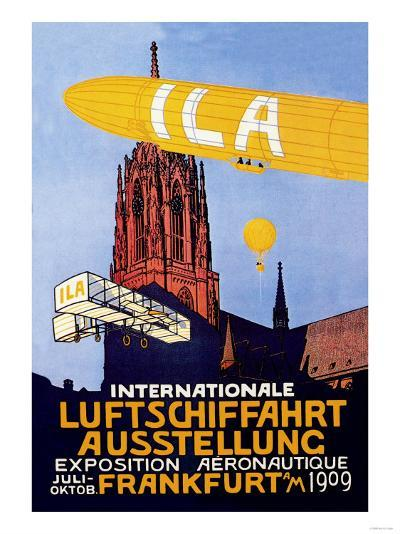 I.L.A., Airship, Balloon and Plane Fly over a Cathedral in Frankfort Wor--Art Print