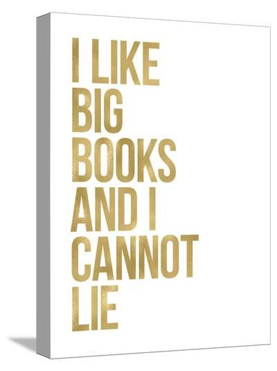 I Like Big Books Golden White-Amy Brinkman-Stretched Canvas Print