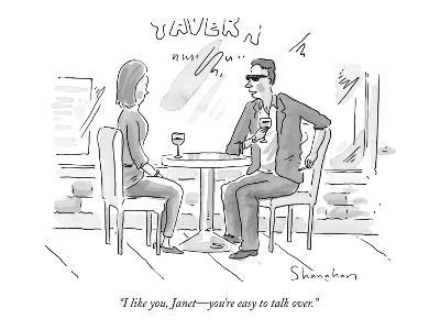 """""""I like you, Janet—you're easy to talk over."""" - New Yorker Cartoon-Danny Shanahan-Premium Giclee Print"""