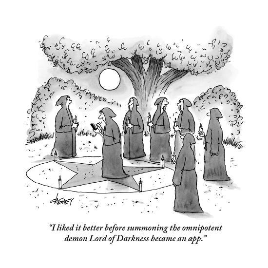 """""""I liked it better before summoning the omnipotent demon Lord of Darkness ?"""" - New Yorker Cartoon-Tom Cheney-Premium Giclee Print"""
