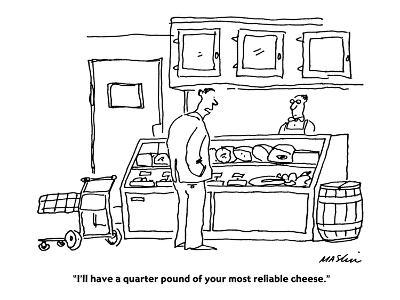"""I'll have a quarter pound of your most reliable cheese."" - Cartoon-Michael Maslin-Premium Giclee Print"