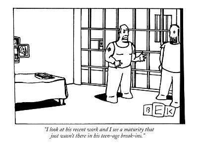 """""""I look at his recent work and I see a maturity that just wasn't there in ?"""" - New Yorker Cartoon-Bruce Eric Kaplan-Premium Giclee Print"""