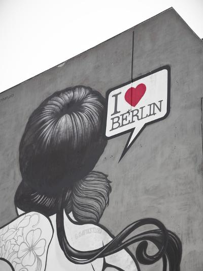 I Love Berlin' Mural on Building, Berlin, Germany-Jon Arnold-Photographic Print