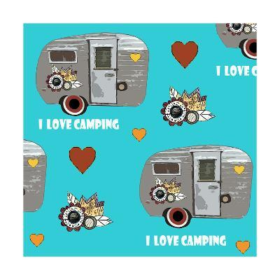 I Love Camping Pattern-Sarah Ogren-Art Print
