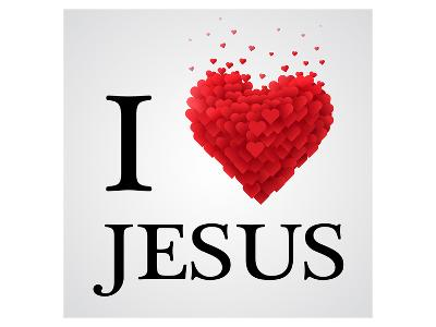 I Love Jesus Heart Graphic--Art Print