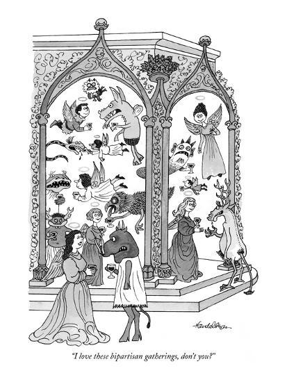 """I love these bipartisan gatherings, don't you?"" - New Yorker Cartoon-J.B. Handelsman-Premium Giclee Print"