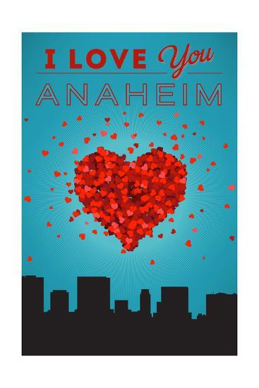 I Love You Anaheim, California-Lantern Press-Art Print