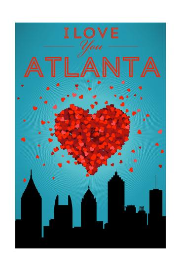 I Love You Atlanta, Georgia-Lantern Press-Art Print