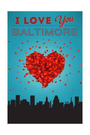 I Love You Baltimore, Maryland-Lantern Press-Framed Art Print