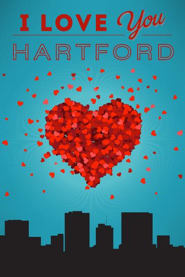 I Love You Hartford, Connecticut-Lantern Press-Art Print