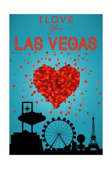 I Love You Las Vegas, Nevada-Lantern Press-Art Print