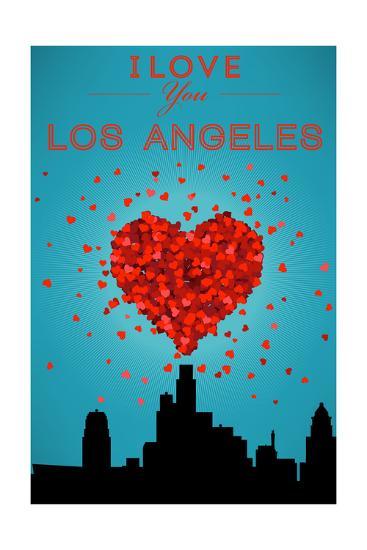I Love You Los Angeles, California-Lantern Press-Art Print