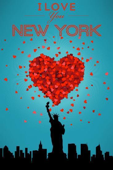 I Love You New York City, NY-Lantern Press-Art Print