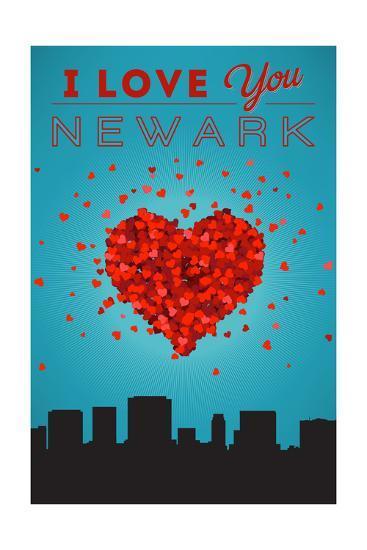 I Love You Newark, New Jersey-Lantern Press-Art Print