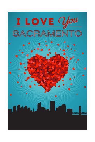 I Love You Sacramento, California-Lantern Press-Art Print