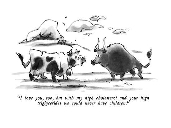 """""""I love you, too, but with my high cholesterol and your high triglycerides?"""" - New Yorker Cartoon-Lee Lorenz-Premium Giclee Print"""