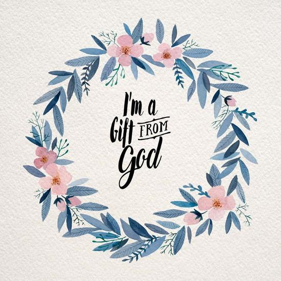 I'm A Gift From God Pink Flower Wreath-Inspire Me-Art Print