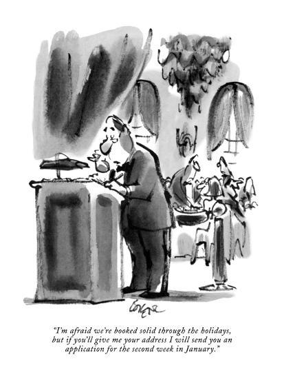 """I'm afraid we're booked solid through the holidays, but if you'll give me?"" - New Yorker Cartoon-Lee Lorenz-Premium Giclee Print"