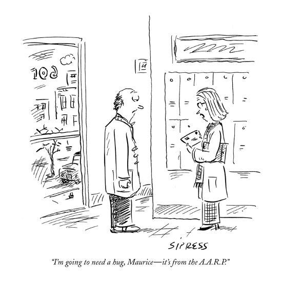 """I'm going to need a hug, Maurice?it's from the A.A.R.P."" - New Yorker Cartoon-David Sipress-Premium Giclee Print"