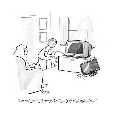"""I'm not giving Trump the dignity of high definition."" - Cartoon-Benjamin Schwartz-Premium Giclee Print"