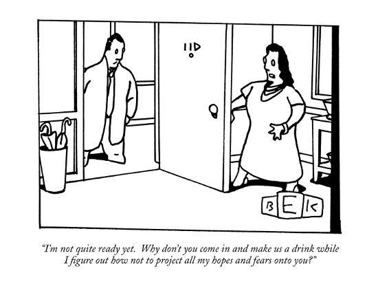 """""""I'm not quite ready yet.  Why don't you come in and make us a drink while?"""" - New Yorker Cartoon-Bruce Eric Kaplan-Premium Giclee Print"""