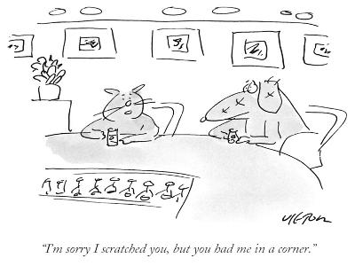 """""""I'm sorry I scratched you, but you had me in a corner."""" - New Yorker Cartoon-Dean Vietor-Premium Giclee Print"""