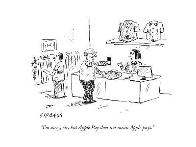 """I'm sorry, sir, but Apple Pay does not mean Apple pays."" - Cartoon-David Sipress-Premium Giclee Print"