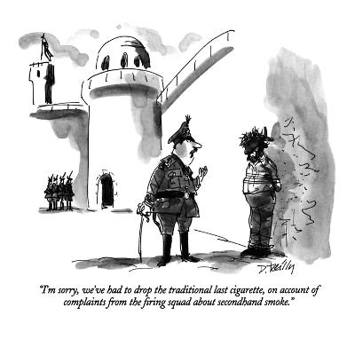 """""""I'm sorry, we've had to drop the traditional last cigarette, on account o?"""" - New Yorker Cartoon-Donald Reilly-Premium Giclee Print"""